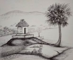 Temple Chimes by Vishwanath Bhat, Illustration Drawing, Pen on Paper, Gray color