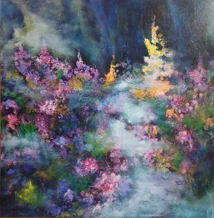 Cloud nine by Dilraj Kaur, Abstract Painting, Acrylic on Canvas, Blue color