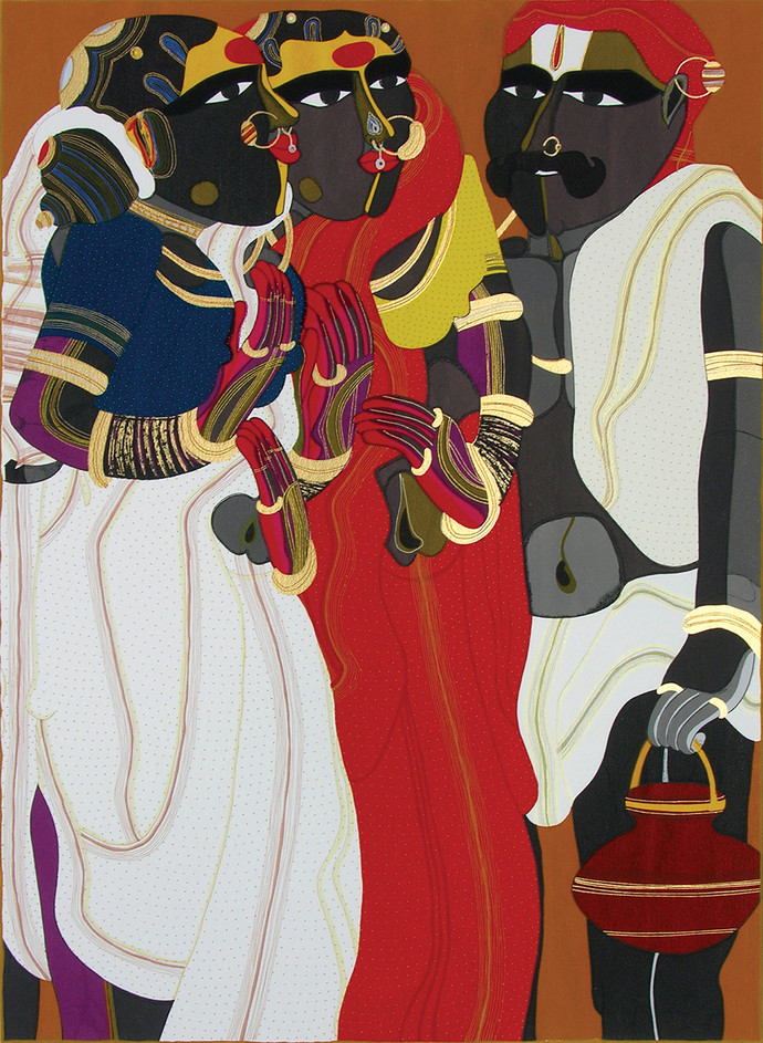 Telangana People by Thota Vaikuntam, Expressionism Printmaking, Serigraph on Paper, Brown color