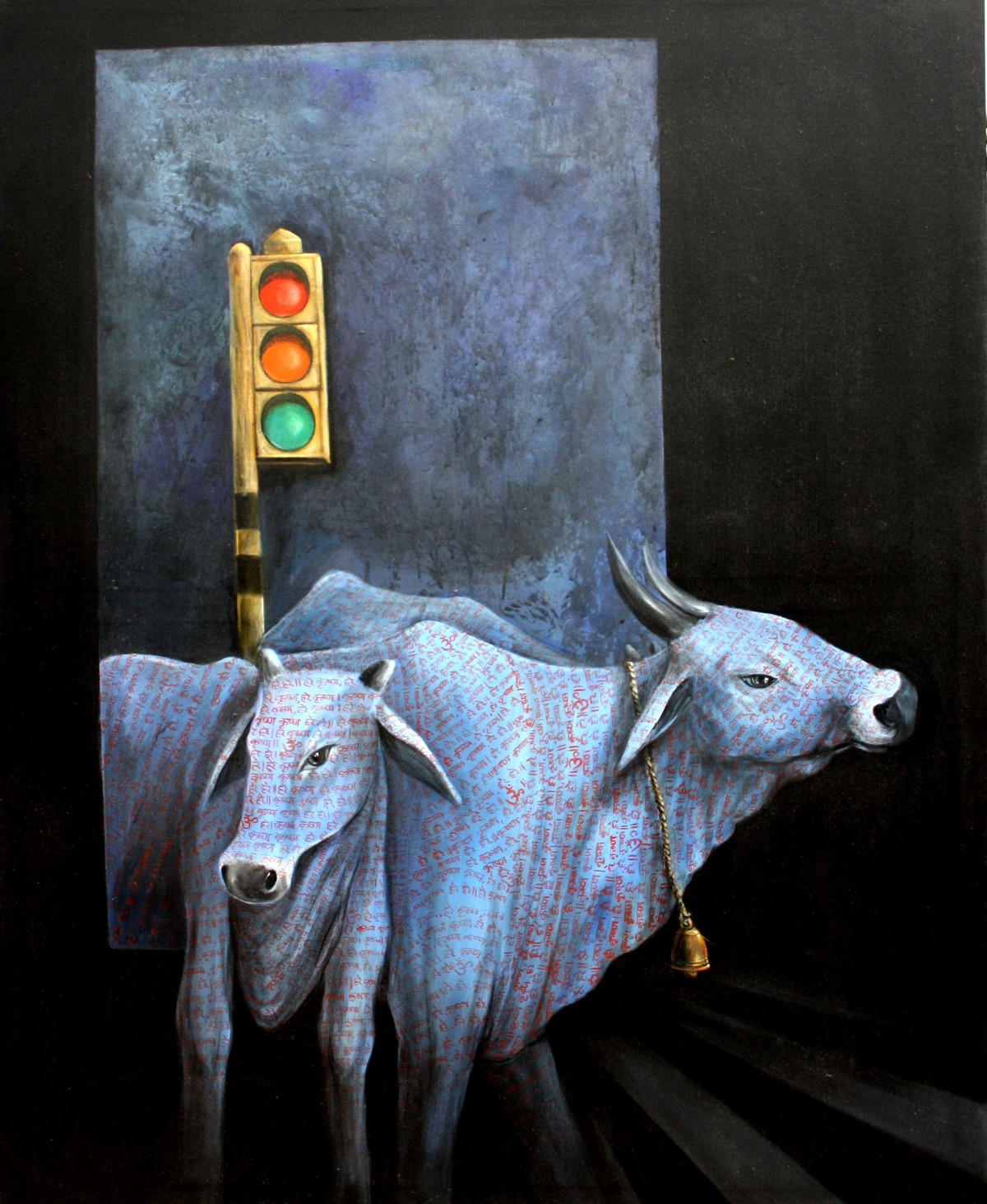 Urbanigation by Sajal Patra, Conceptual Painting, Acrylic on Canvas, Black color