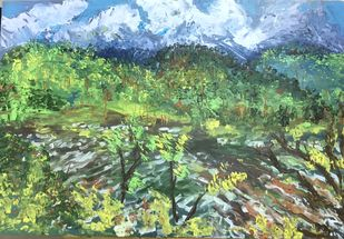 Sattal Lake Digital Print by Tvesha Singh,Abstract