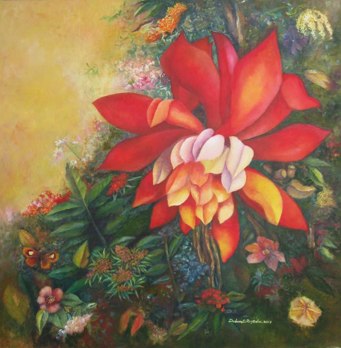 Tropical Garden by Debarati Roy Saha, Pop Art Painting, Oil on Canvas, Brown color