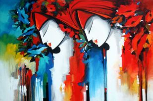 love song2 by pradeesh k raman, Expressionism Painting, Acrylic on Canvas, Brown color
