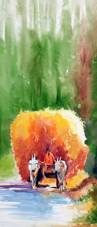 Travel in the morning by Jeyaprakash M, Impressionism Painting, Watercolor on Paper, Green color