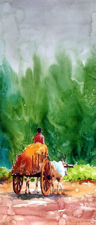 Travel into the Village by Jeyaprakash M, Impressionism Painting, Watercolor on Paper, Green color