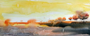 Desertscape by Jeyaprakash M, Impressionism Painting, Watercolor on Paper, Beige color
