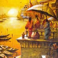 ..''vibrant ghats of varanasi   ix'' size 20''x30'' pricers.50 000  acrylic on canvas