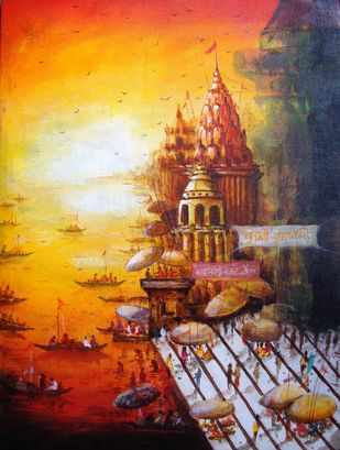 Vibrant Ghats of Varanasi-VII by Anirban Seth, Impressionism Painting, Acrylic on Canvas, Brown color