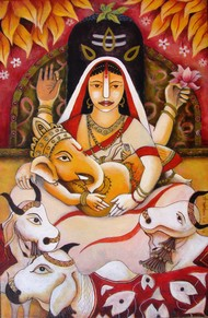 Happy Family by Anirban Seth, Expressionism Painting, Acrylic on Canvas, Brown color