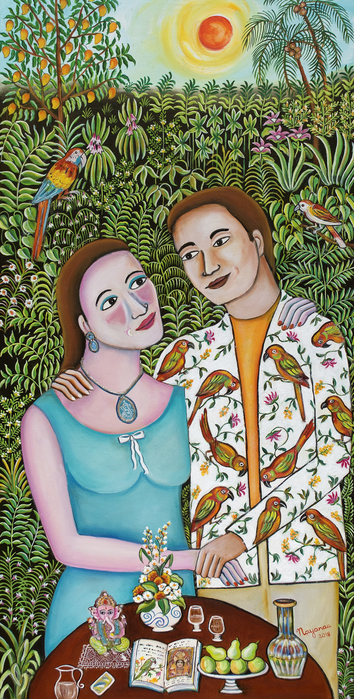 Living our Dreams by Nayanaa Kanodia, Naive Painting, Oil on Canvas, Green color