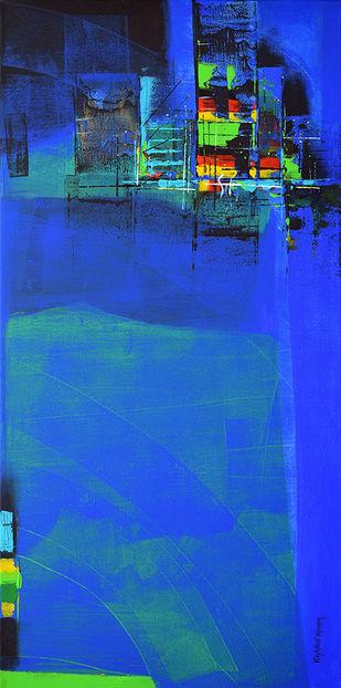 Blue city by Gajanan Kashalkar, Abstract Painting, Acrylic on Canvas, Blue color
