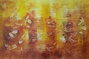 Untitled by Jaiprakash Chouhan, Abstract Painting, Oil on Paper, Brown color