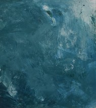 Ebb by Rinden, Abstract Painting, Acrylic on Paper, Cyan color
