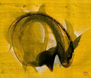 Tandav-04 by Shirish Deshpande, Abstract Painting, Acrylic on Canvas, Orange color