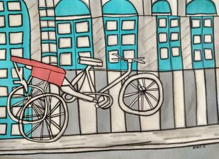 Chalti Ka naam Rickshaw by Amrit Khurana, Expressionism Painting, Acrylic on Paper, Beige color