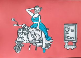 Vespa Movie Night by Amrit Khurana, Expressionism Painting, Acrylic on Paper, Brown color