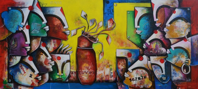 Bonding Of Eternal Love 3 by anupam pal, Traditional Painting, Acrylic on Canvas, Brown color