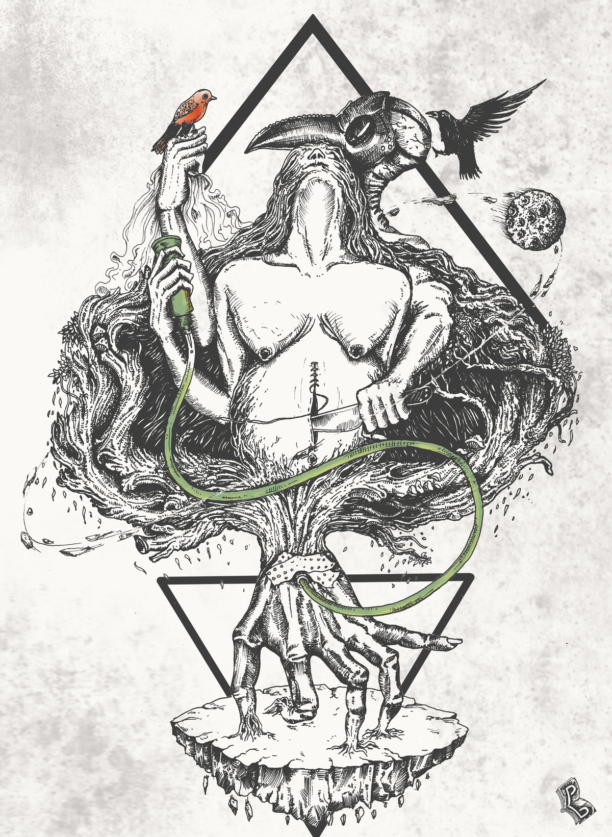 Rue by Pallab Baruah, Illustration Digital Art, Digital Print on Paper, Gray color