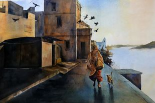 Varanasi Ghats by Krishnendu Chatterjee, Impressionism Painting, Watercolor on Paper, Brown color