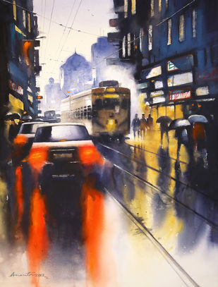 Old Kolkata by Ananta Mandal, Impressionism Painting, Watercolor on Paper, Zinnwaldite color