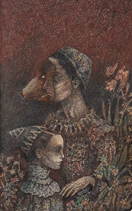 Conjuring 1 by Anujit Roy, Expressionism Drawing, Mixed Media, Brown color