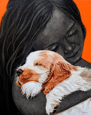 Maya- Unconditional Love by Deepali S, Expressionism Painting, Oil & Acrylic on Canvas, Gray color