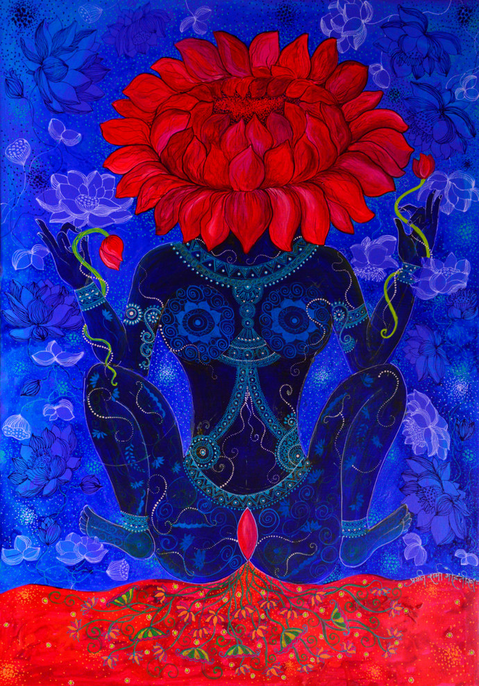 Lajja Gauri by Pragati Sharma Mohanty, Expressionism Painting, Acrylic on Canvas, Blue color
