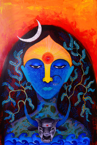 Aadishakti by Pragati Sharma Mohanty, Expressionism Painting, Mixed Media on Canvas, Blue color