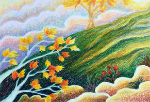 Surreal landscape by Shalini Sinha, Expressionism Painting, Oil Pastel on Paper, Green color