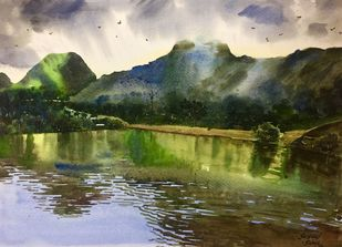 Reflection by Sohel Sayyad , Impressionism Painting, Watercolor on Paper, Green color
