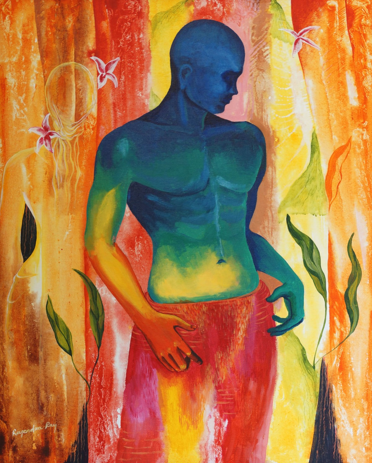 Roaming by rajendra ray, Expressionism Painting, Acrylic on Canvas, Brown color