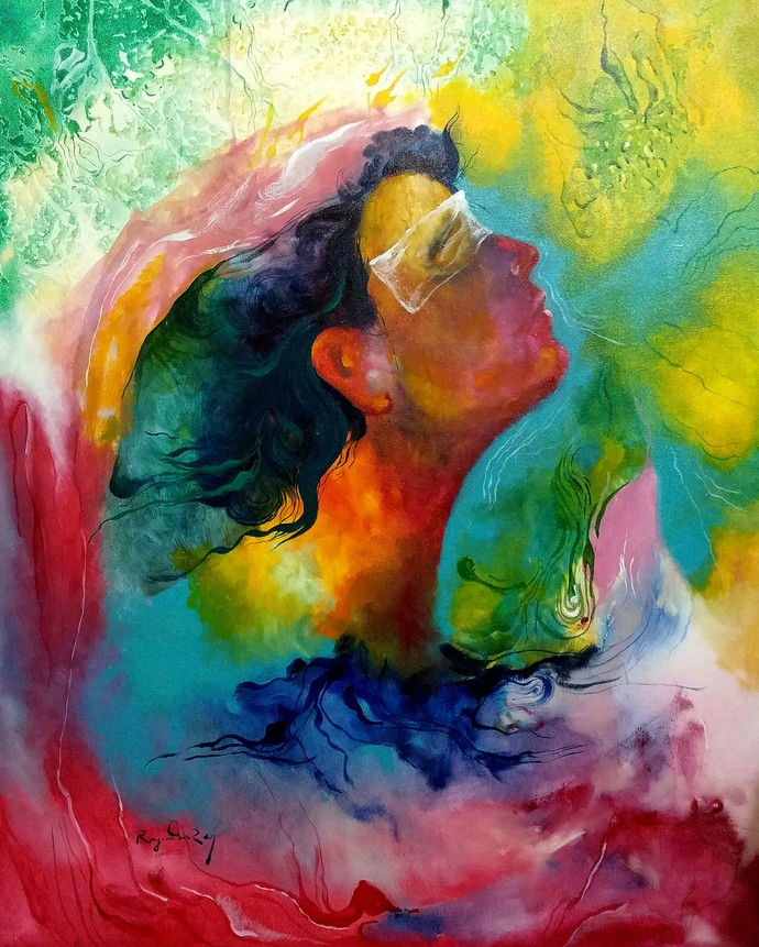 My Imagination 2 by rajendra ray, Expressionism Painting, Acrylic on Canvas, Green color