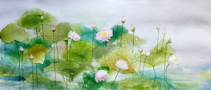 Lotus Pond 2 by Jeyaprakash M, Abstract Painting, Watercolor on Paper, Green color
