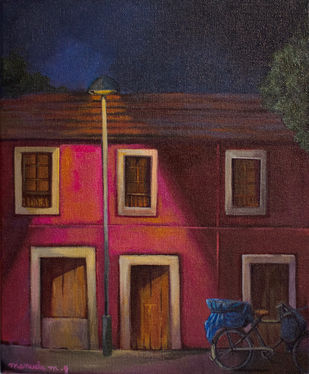 Streets of Goa by Manuela Gomes, Impressionism Painting, Acrylic on Canvas, Brown color