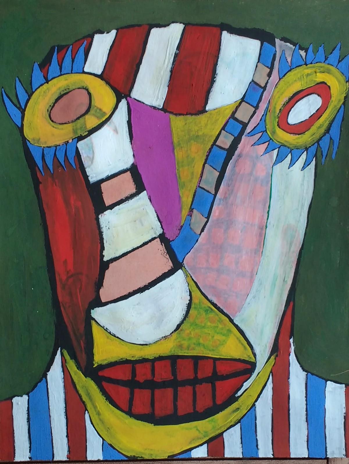 Self-portrait by Manoj Kumar Negi, Fantasy Painting, Mixed Media on Paper, Green color