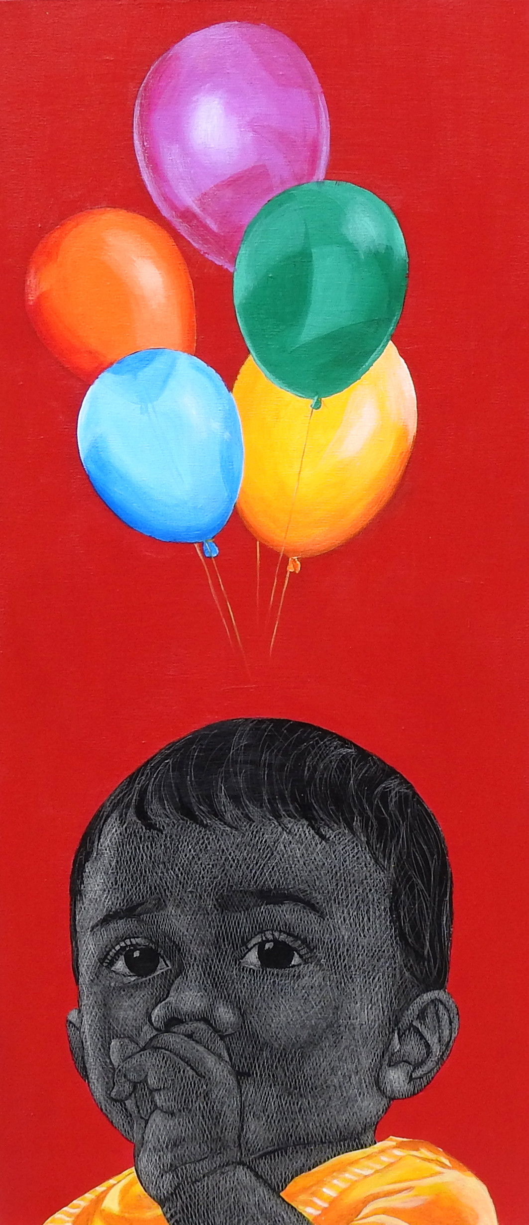Niragas- A true innocence by Deepali S, Expressionism Painting, Oil & Acrylic on Canvas, Red color