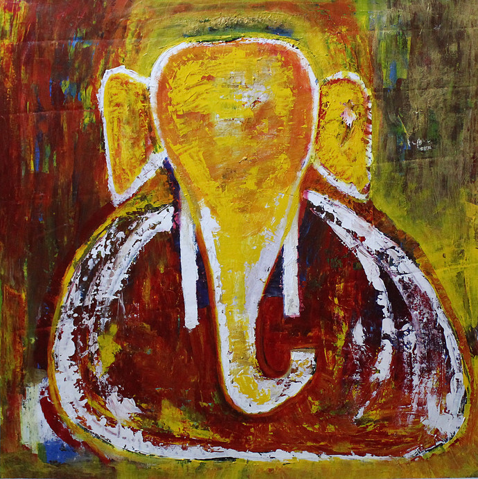 Ganesha 5 by Karan Meral, Expressionism Painting, Acrylic on Canvas, Brown color
