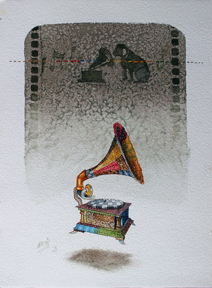 memories by Ramchandra Kharatmal, Impressionism Painting, Watercolor on Paper, Gray color