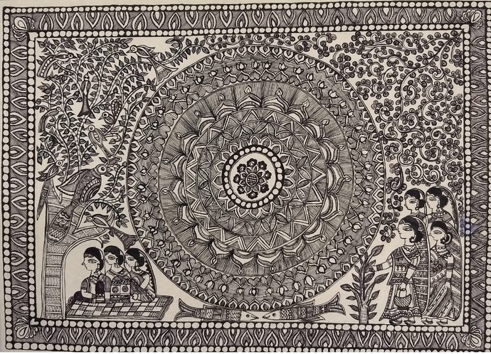 Panchami by Abha Jha, Folk Painting, Ink and brush on paper board, Brown color