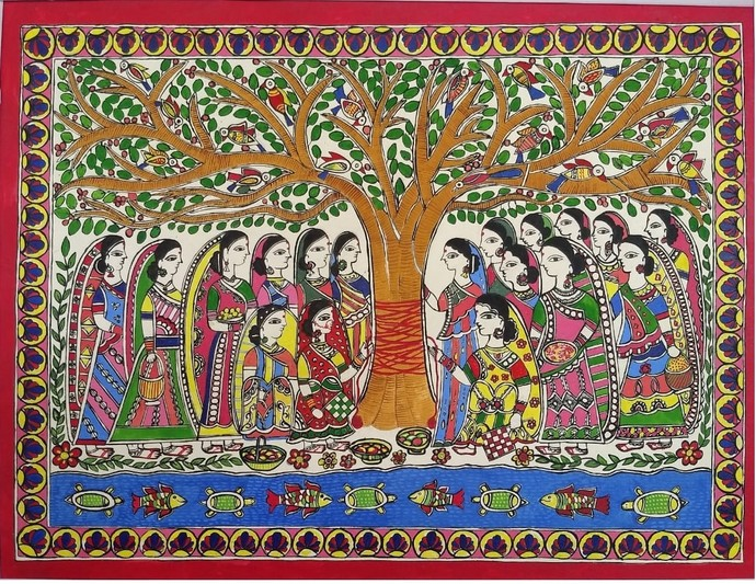 Vat Savitri Puja by Abha Jha, Folk Painting, Ink and brush on paper board, Brown color