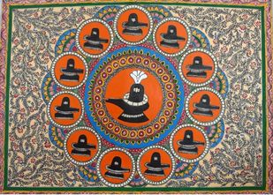 Dwadas Jyotir Linga by Abha Jha, Folk Painting, Ink and brush on paper board, Brown color