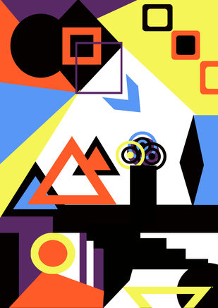 Geometric Art by Aashna Dodhiwala, Geometrical Digital Art, Digital Print on Paper,