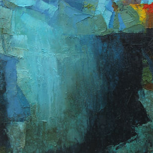 Blue Memory by Abhishek Kumar, Abstract Painting, Oil on Canvas, Green color