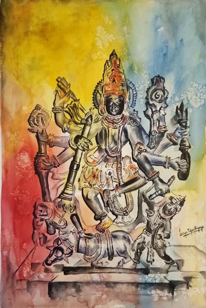 Mahishasura Mardini Digital Print by Lasya Upadhyaya,Impressionism