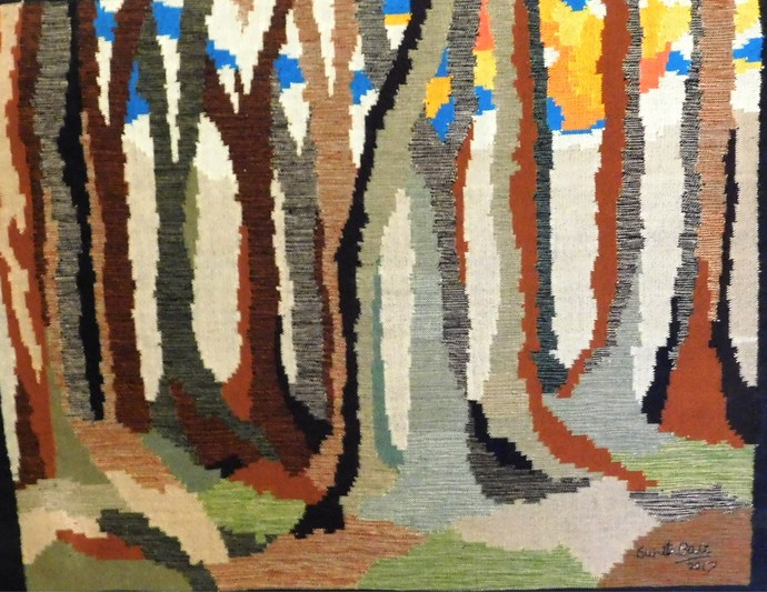 Sun lit forest by Sunita Bali, Abstract Textile, Mixed Media, Brown color