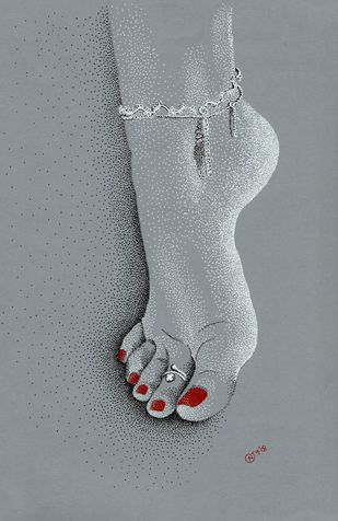 untitled1 by Narendra Chauhan, Illustration Painting, Pen on Paper, Gray color