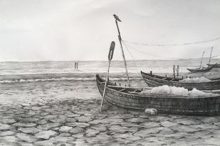 Untitled 9 by SOUMI JANA, Illustration Drawing, Pencil on Paper, Gray color