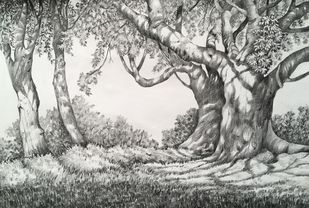 Untitled 10 by SOUMI JANA, Illustration Drawing, Pencil on Paper, Gray color