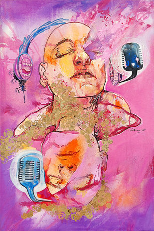 Kaleidotunes(Duet) by Biswajit Das, Expressionism Painting, Mixed Media on Canvas, Pink color