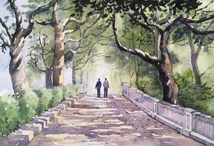 Landscape 5 by SOUMI JANA, Impressionism Painting, Watercolor on Paper, Beige color